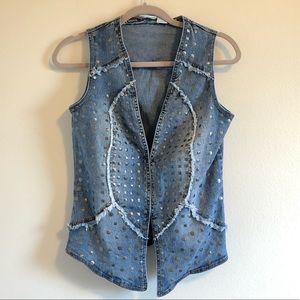 Jackets & Blazers - Denim Festival Vest   Raw Hem   Silver Stud Detail